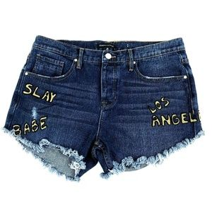 Kendall Kylie 29 Dark Wash Button Fly Shorts Slay